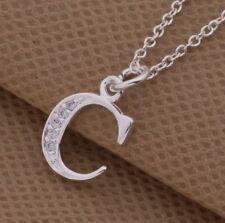 925 Sterling Silver LETTER C Swarovski Crystal Pendant Charm Necklace Chain Gift