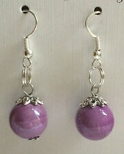 PURPLE PORCELAIN ROUND BEAD DANGLE DROP / HOOK EARRINGS (BEAD SIZE 12MM ).