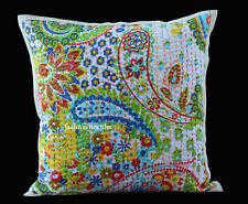 "INDIAN HANDMADE KANTHA WORK 16X16"" COTTON CUSHION COVER ETHNIC HOME DECOR ARTh33"