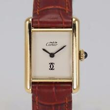 Must De Cartier Tank 18ct Gold Plated Manual Wind Woman's Vintage Watch 1990's