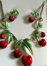 Cherry Necklace And Earrings Set, Rockabilly, Kitsch, Vintage Statement Cherries