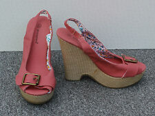 Atmosphere Pink Canvas Slingback Platform Sandals Size 4/37