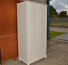 WHITE SHABBY CHIC PINE WARDROBE WITH 2 DRAWERS AND SHELF.
