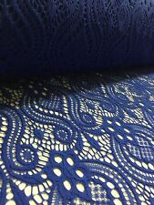 """Royal Blue Lace Fabric - Floral Stretch Lycra - 60"""" Wide - Per Meter"""
