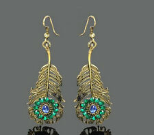 ANTIQUE BRONZE FINISH PEACOCK FEATHER DROP DANGLE CRYSTAL EARRINGS