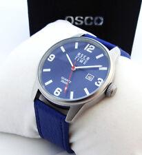 OSCO Herren Armbanduhr Lederband mit Datum Blau