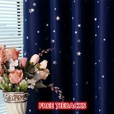 Kids Room Solution Blockout Eyelet Curtains 2 x 140cm x 230cm Navy Blue Star
