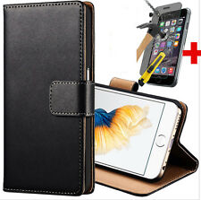 Black Cover Slim Leather Case For iPhone 5 5S Free Tempered Glass