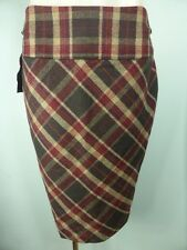 CUE brown check wool MIX casual Corporate dress skirt ITALIAN FABRIC sz 10
