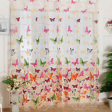 Butterfly Sheer Curtain Panel Window Door Living Room Divider Voile Drape Valanc