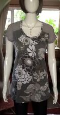 Unusual Floral And Striped Long Length Next Top With Sparkly Bits Size 10