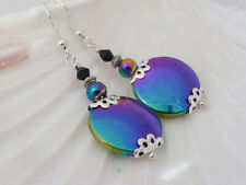 Beautiful Shimmering Blue Green and Pink Rainbow Hematite Drop Pierced Earrings