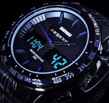 Analog Digital Armband Herren Uhr Schwarz Blau Chronograph Ziffernbeleuchtung 3