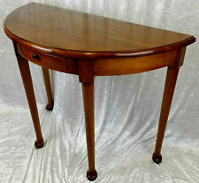 BEAUTIFUL NEW SOLID MAHOGANY HAND-MADE HALF MOON TABLE WITH DRAWER