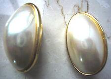Edle Große Ohrclips Oval mit großer Perle - Goldumrandung *Klassiker*Statement