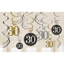 12 Happy 30th Birthday Hanging Swirls/Cutout Gold Black Silver Party Decorations
