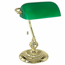 Eglo 90967 Bankers Light Traditional Table Lamp Brass Finish (Green)
