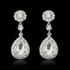 Long Dangling Wedding Bridal Bridesmaid Tear Drop Crystal Rhinestone Earrings