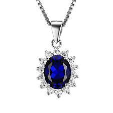 JewelryPalace Damen Saphir Anhänger Halskette Kette Massivem 925Sterlingsilber