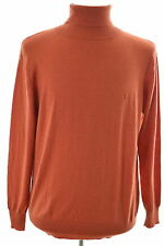 Daniel Hechter Mens Roll Neck Jumper Sweater Large Orange Wool