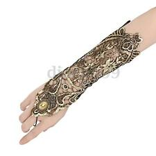 Sexy Women Wedding Bridal Party Costume Gold Lace Fingerless Arm Wrist Gloves