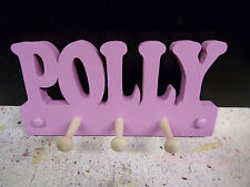 wooden coat pegs hooks/hook hangers personalised childrens bedroom names painted