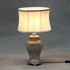 Champagne Crushed Glass Table Lamp with Champagne Oval Silk Shade 62cm High