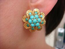 18K YELLOW GOLD, VINTAGE, FLOWER MOTIF CLIP-ON EARRINGS WITH TURQUOISE 10 GRAMS
