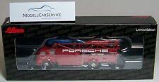 """Schuco Piccolo: 05896 MAN 415 Renntransporter """"Porsche"""" mit 3x Porsche Spyder"""