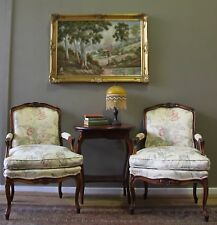STUNNING PAIR OF MORAN VINTAGE FRENCH OAK BERGERE ARMCHAIRS ARM LOUNGE CHAIRS