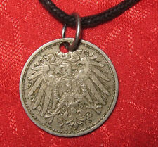 VINTAGE EARLY 1900's GERMAN GERMANY EAGLE COIN PENDANT CHARM NECKLACE