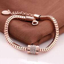 18k Rose Gold Plated Ladies Link Crystal/Diamante Link Bracelet/Bangle-Uk Seller