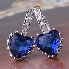 Blue Swarovski crystal hoop 18k white gold fille awesome lady earrings!