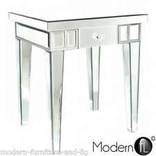 IMPERFECT VENETIAN MIRRORED ONE DRAWER LAMP TABLE, MIRRORED BED SIDE TABLE,