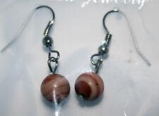 Modeschmuck Damen Mädchen Ohranhänger Ohrringe Naturperle Roter Malachit #009