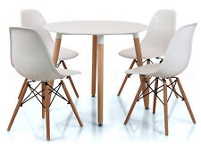 Eiffel Small White Dining Set 90cms Round Table Wood Legs 4 Chairs Eames Style