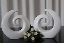 2 moderne Deko Skulpturen aus Keramik, Design, Figur, weiß 16cm abstrakt