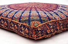 INDIAN MANDALA CUSHION COVER OTTOMAN/FLOOR/SOFA SQUARE SEAT COVER DAYBED PILLOW