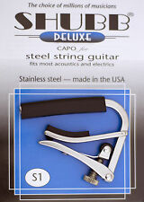 SHUBB S1 HIGH QUALITY STAINLESS STEEL CAPO FOR STEEL 6 STRING GUITARS - USA MADE