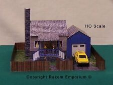 HO Scale Cottage with Garage and Fences Model Railway Building Kit - RECG1