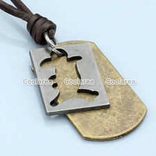 Vintage Military Army Silver Bronze Dog Tag Men Genuine Leather Necklace Pendant