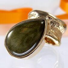 A701 Unikat Schmuck Labradorit Ring 925 Silber Rosegold vergol. Gr.58 Handarbeit