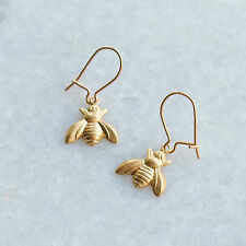Bee Earrings Gold Kidney Ear Wires Small Raw Brass Drop Charms Vintage Style UK