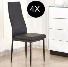 4 x Modern Slim Line High Back Dining Chairs Set Black Faux Leather Padded Solid
