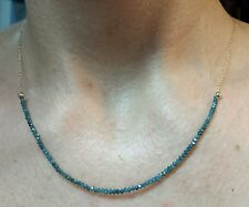 6ct genuine faceted 2mm - 3mm blue diamond 14k gold necklace