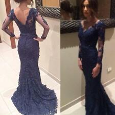 Navy Blue V Backless Evening Dress Mermaid Lace Prom Gown Party Formal Dresses