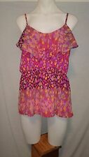 Ladakh Ladies Cami Top In a Pink Purple and Orange Abstract Print Size 12