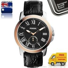 NEW FOSSIL MENS WATCH GRANT SILVER & ROSE GOLD BLACK DIAL & LEATHER STRAP FS4943