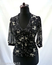 JANE NORMAN  Designer Black White Bird Print Tie Top  Shirt Vintage Look  10 38