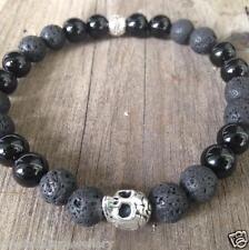 ॐCrystal Blissॐ Mens Lava & Onyx Reiki Yoga Spiritual Bracelet with Skull